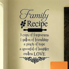 wall sayings for kitchen family recipe decal vinyl lettering es art rec