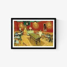 the night cafe painting by vincent van gogh um size in a trendy simple black frame