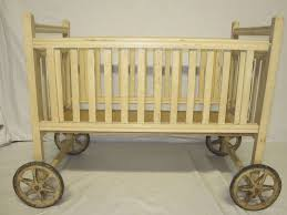 vintage wooden doll crib with wheels wood cradle playpen w kitty decals 1940 s