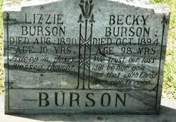 """Rebecca """"Becky"""" Wingo Burson (1810-1894) - Find A Grave Memorial"""