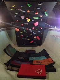 climbing wall in a swimming pool