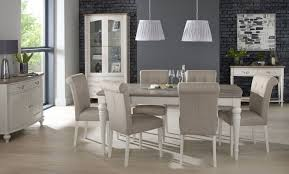 bentley designs montreux grey washed oak and soft grey rectangular extending with upholstered fabric chairs dining