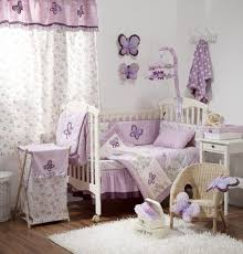 baby nursery breathtaking girl room decoration using light purple erfly bedding set including mobile and rectangular