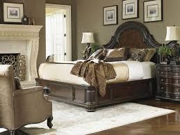 Florentino Cavallino Leather Platform King Bed   Lexington Home Brands  Furniture   Tiled Brazilian Walnut   Nailhead Trim   Leather Accents    Pinterest ...
