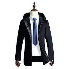 hooded trench coat mens long hooded trench coat men winter wool men overcoat zipper casual male hooded trench coat
