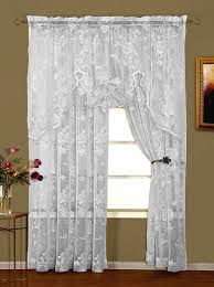abbey rose lace curtains white