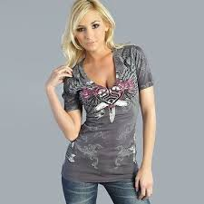 Sinful LUSTFUL <b>Womens V</b>-<b>Neck</b> Top <b>S XL</b> NWT NEW T-Shirt ...