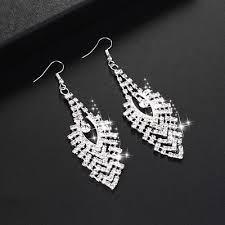 new rhinestone crystal dangle chandelier long drop earrings bridal jewelry s