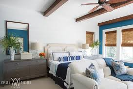 Tropical Blue And Gray Bedroom Design With Gray Dressers As Nightstands
