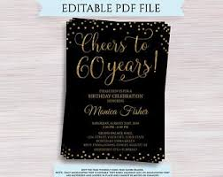Editable 60th Birthday Party Invitation Template 60 And Etsy