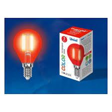 Светодиодная <b>лампа Uniel LED-G45-5W/RED/E14 GLA02RD</b> ...