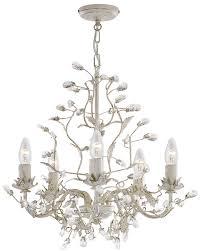 almandite cream gold 5 light chandelier with crystal