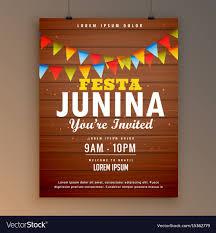 invitation flyer festa junina party invitation poster flyer design vector image on vectorstock