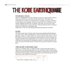 the kobe earthquake a level geography marked by teachers com document image preview