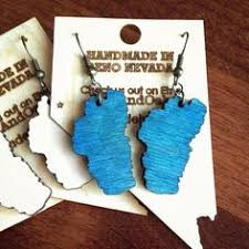 wooden lake tahoe earrings made from baltic birch