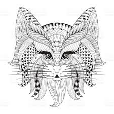Small Picture Hand Drawn Cat Face For Adult Antistress Coloring Page stock