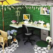 cubicle decorating ideas office. Decorate Cubicle With Wicker Chair And Nice Flowers Office Decorating Ideas A
