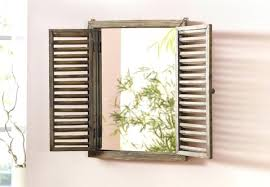 wood window mirror mirror window with folding shutters wall decoration country home decoration decorative shutters for
