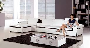 modern white faux leather sectional sofa