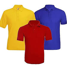 short sleeve polo shirt 3 pack red royal blue yellow