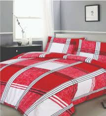 red white check duvet cover bedding set poly cotton single double king
