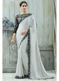 Grey Color Designer Blouse Grey Color Fancy Fabric Designer Party Wear Saree With