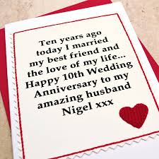Personalised 10th Wedding Anniversary Card By Jenny Arnott Cards