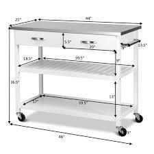 costway rolling kitchen trolley cart island stainless steel countertop w drawer shelf 1