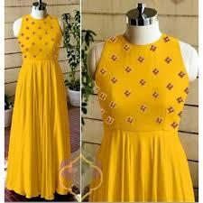 Sleeveless Long Kurti Designs New Designer Long Kurti Mustard Gown Party Wear Simple