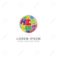 Puzzle Globe Logo Colorful Puzzle Globe Concept Isolated White Background