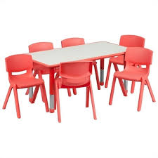Plastic Activity Table Set with 6 School Stacking Chairs in Red YU