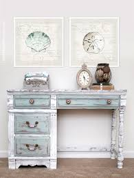distressing furniture with chalk paint. Lovely Distressed Desk Painted In Pure White Paris Grey Duck Egg Blue Chalk Paint Decorative By Annie Sloan How To Nest For Less On Distressing Furniture With