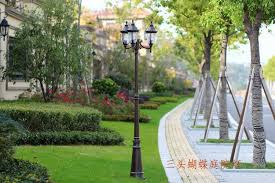 retro garden light post lamp 2 heads 3 heads driveway road lighting garden path lighting 220v 110v