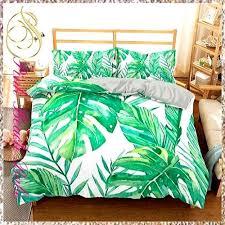 green palm leaves duvet bedding set