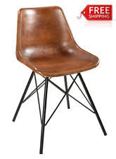 dining chair indian industrial style brown leather chairs metal furniture edh