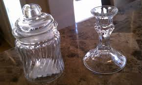 candy jar and candle stick holder form the dollar