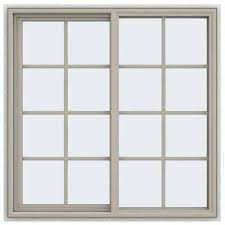 Jeld Wen Vinyl Window Color Chart 47 5 In X 47 5 In V 4500 Series Desert Sand Painted Vinyl Left Handed Sliding Window With Colonial Grids Grilles