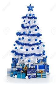 Artificial white christmas tree on white, decorated with blue ornaments and  garland, lots of