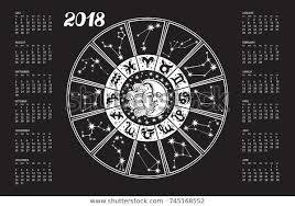 New Zodiac Chart 2018 2018 New Year Calendarhoroscope Circle Zodiac Stock Vector