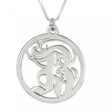old english abstract initial pendant sterling silver
