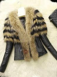 B Chicloth Winter Style Faux Fur Lapel Pu Short Womens