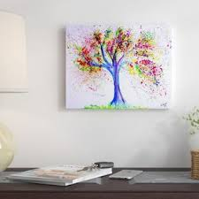 tree of life painting on wrapped canvas on canvas wall art tree of life with tree of life canvas art wayfair