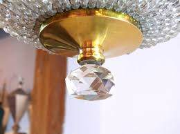 crystal bead and brass dome chandelier for 2