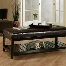 Coffee Table, Breathtaking Black Rectangle Minimalist Leather Ottoman  Coffee Table With Shelf Ideas: Best ...