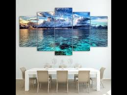 For a contrast in color, the picture frames are painted a dark turquoise green. 5 Panel Sea Wave Beach Landscape Canvas Hd Modern Wall Art Home Decoration Living Room Or Bedroom Frame Parksideave Marketplace