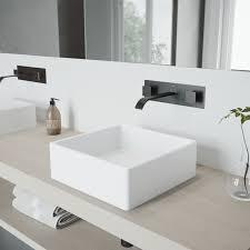 vigo dianthus matte stone vessel bathroom sink set with titus wall mount faucet in antique rubbed bronze