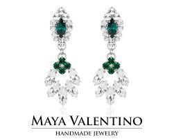 bridal chandelier earring bridal earring big earring emerald earring 14k gold earring