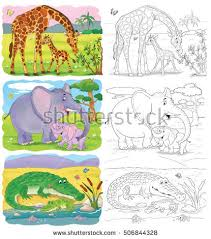 Small Picture Zoo African Animals Elephant Giraffe Illustration Stock