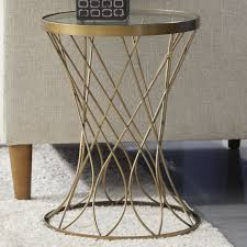 end tables round gold glass coffee table lovely mercer41 osbourne concave round metal end table