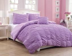 4 piece full size polyester light purple ruffle comforter bedding set